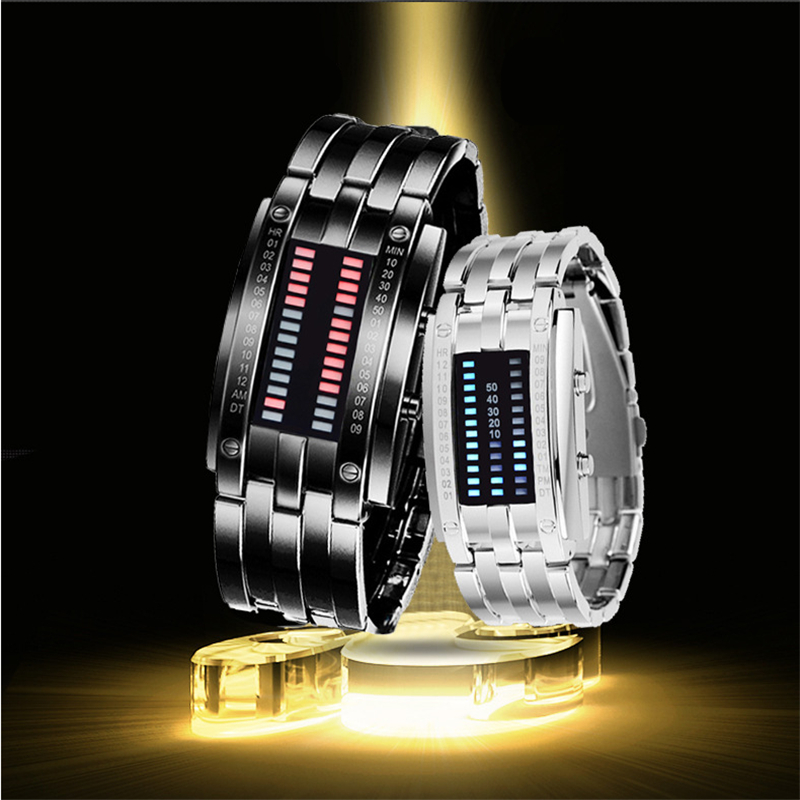 New popular Brand Men Women lovers' luxury creative Watches digital LED display 30M waterproof Wristwatches quality alloy band new digital 6 30