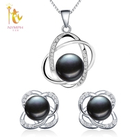 NYMPH Pearl Jewelry Sets Natural FreshWater Pearl Necklace Pendant Earrings Fine Trendy Wedding Party Gift