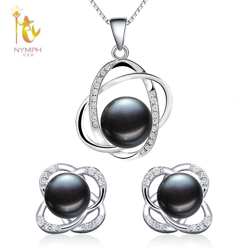 NYMPH Perle Schmuck Sets Natürliche Süßwasser Perle Halskette Anhänger Ohrringe Feine Trendy Hochzeit Party Geschenk Frauen RoseT202-H