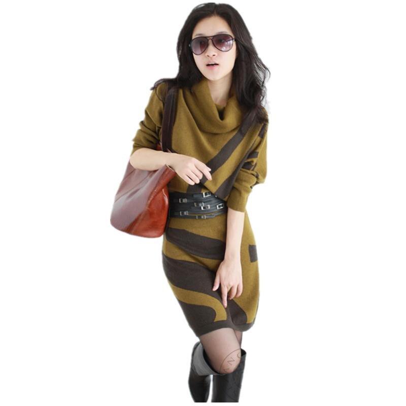 HOT New Autumn Winter Brand Women s Striped Bat Long Sleeved Bottoming Dress Female Slim Package