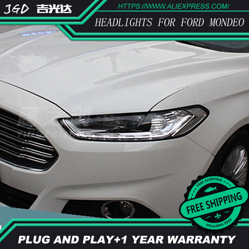 Free shipping ! Car styling LED HID 2013-2015 LED headlights Head Lamp case for Ford mondeo Bi-Xenon mondeo Lens low beam auto part style led head lamp for porsche 997 series led headlights for 997 drl h7 hid bi xenon lens angel eye low beam