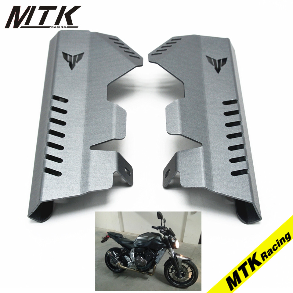 MTKRACING Accessoris Thick Radiator Side Guard Cover Protector For YAMAHA MT-07 FZ-07 2014 2015 2016 for yamaha mt 07 mt 07 fz07 mt07 2014 2015 2016 accessories coolant recovery tank shielding cover high quality cnc aluminum