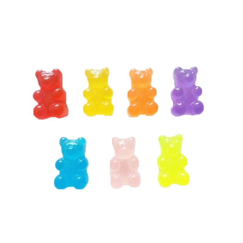YHYS 100 pièces De Bonbons En Résine Cabochon Flatback Miniature Qq Bonbons Gélifiés Ours Mignon Conception Résine Sucre Maison De Poupée bricolage