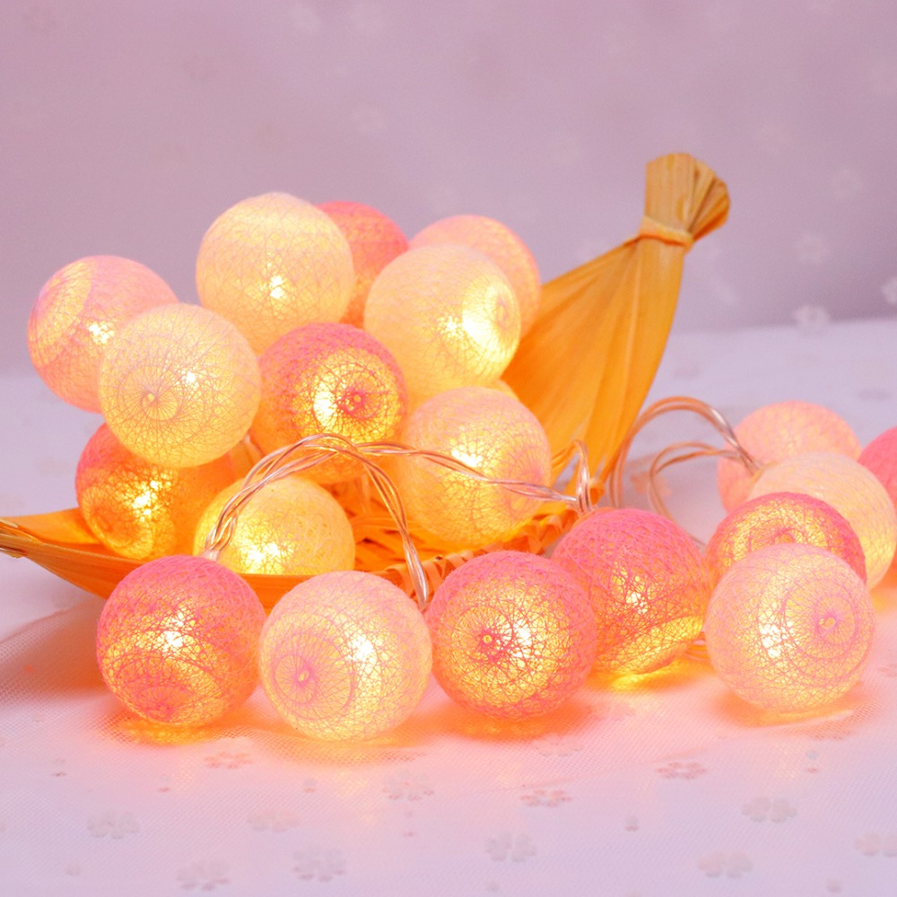 20 Led Pink Cotton Ball Decoración de vacaciones Luz LED String - Iluminación de vacaciones - foto 5