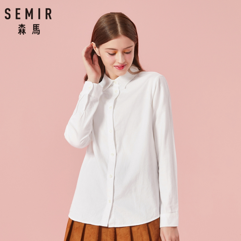 SEMIR Women Long Flannel Shirt With Collar 100% Cotton Regular Fit Long Shirt With Tapered Waist Button Closure Button At Cuff