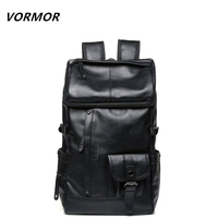 VORMOR New Arrival 2017 Male Functional Bags Fashion Men Backpack PU Leather Backpack Big Capacity Men