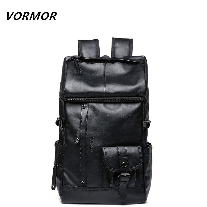 цена VORMOR High Capacity Large Mens Travel Backpack Bag Black Leather Man Backpack For Trip Laptop Backpack mochila masculina онлайн в 2017 году