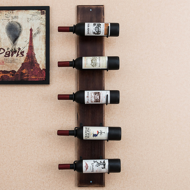 Genial European Style Wooden Wine Frame Wall Hanging Wine Wine Frame Iron Wine Cup  Rack Bar Glass
