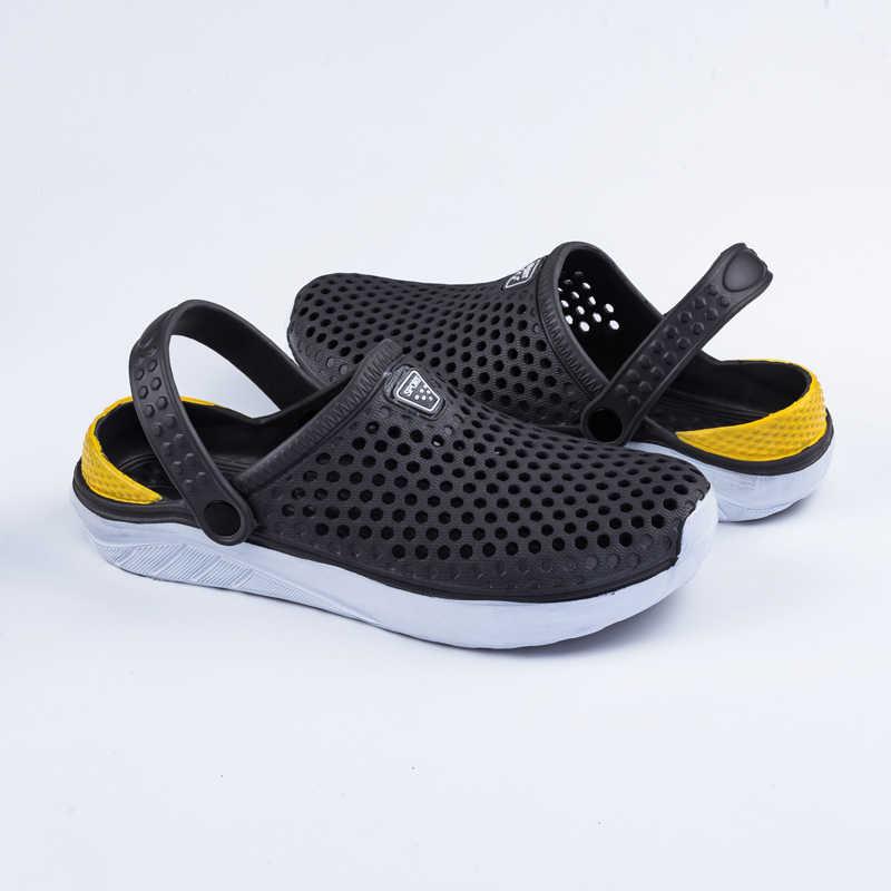 Rahat erkekler havuz sandalet yaz açık plaj ayakkabısı üzerinde kayma erkekler bahçe takunya rahat su duş terlik Unisex 2019 yeni