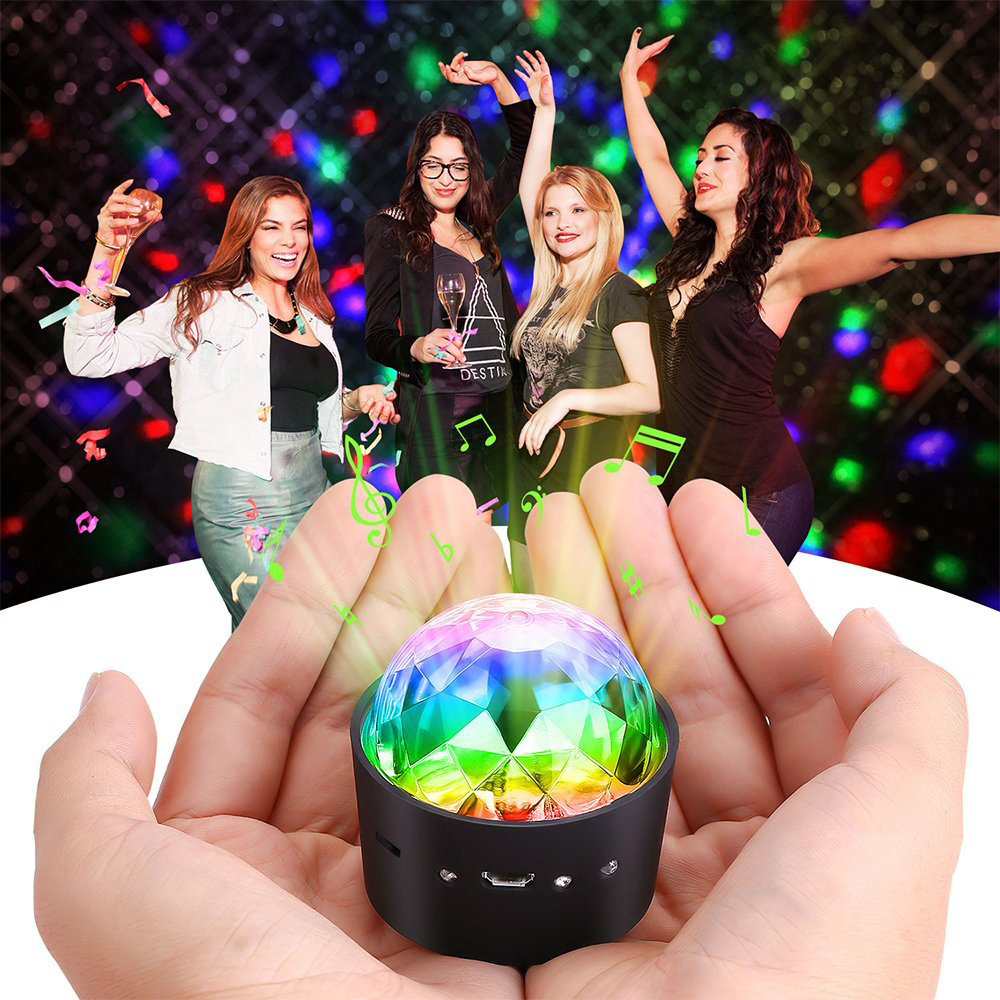 Wireless Mini Disco Ball Light Multi-coloured Crystal Portable LED Party Effect DJ Stage Light With USB RGB Car Decoration Light