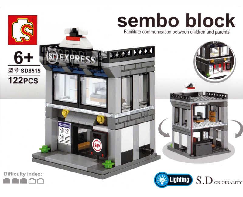 Sembo мини-городской уличный музейный винный бар Экспресс-Церковь кофе ювелирный магазин лампы для склада Конструкторы строительные игрушки для детей без коробки