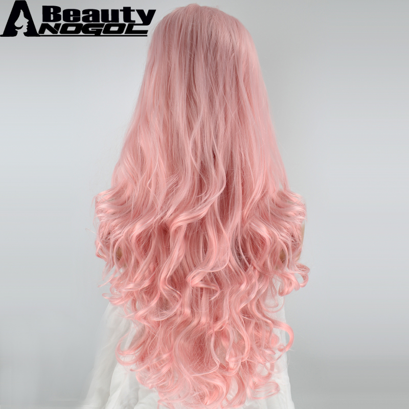 ANOGOL BEAUTY High Temperature Fiber Peruca Perruque U Part Frontal Pink Wigs Long Body Wave Synthetic Lace Front Wig For Women