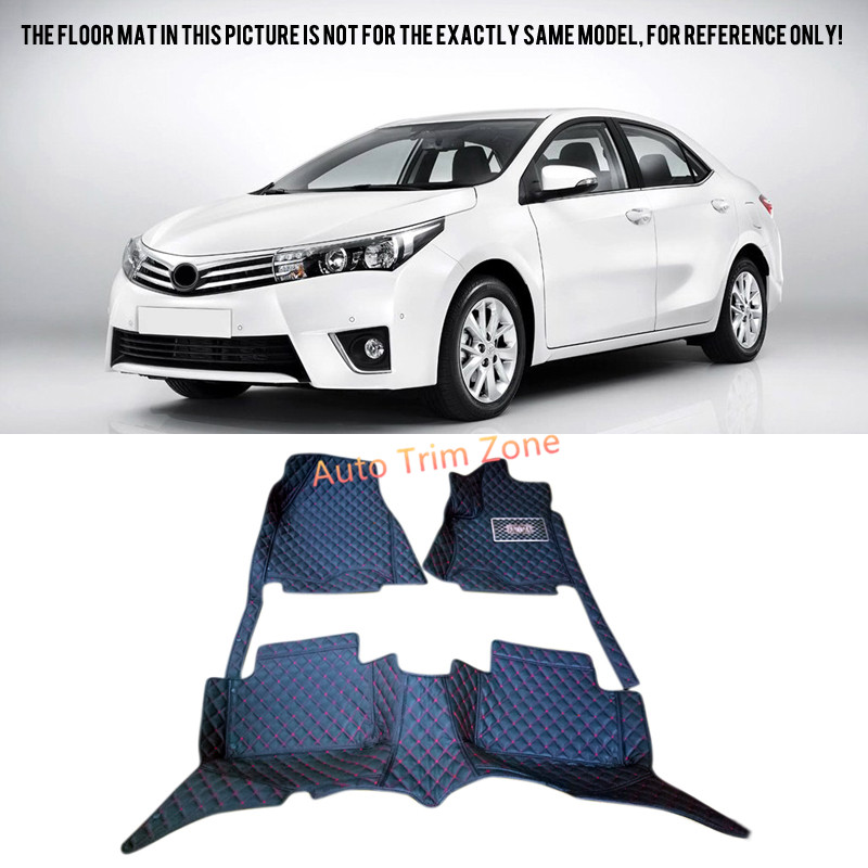 Black Interior Leather Floor Mats & Carpets For Toyota Corolla 2014 2015 2016 auto floor mats for honda cr v crv 2007 2011 foot carpets step mat high quality brand new embroidery leather mats