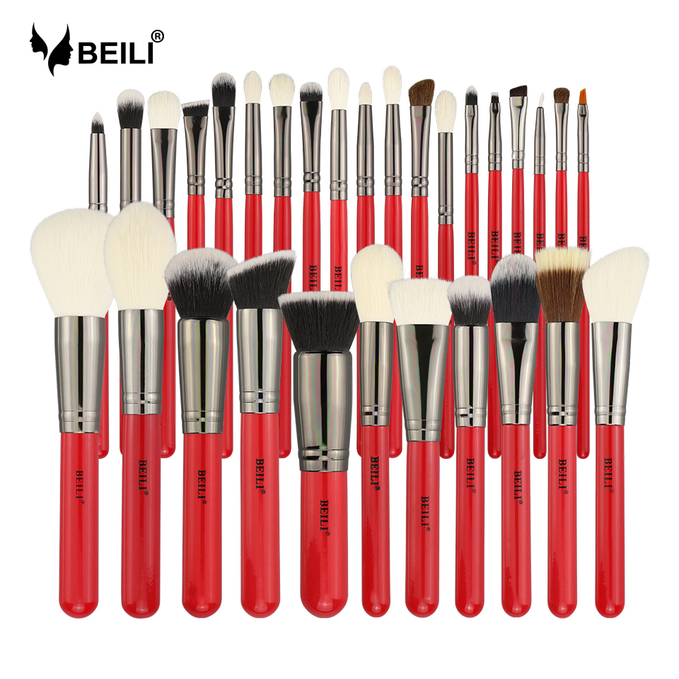 BEILI 30pcs Professional Makeup Brushes Set Natural Hair Powder Foundation Blusher Eyeshadow Eyebrow Eyeliner Makeup Brush Tools brushes natural 1pcs eyebrow foundation eyeshadow brush set 7 makeup case brushes soft wooden makeup holder cosmetic makeup hair