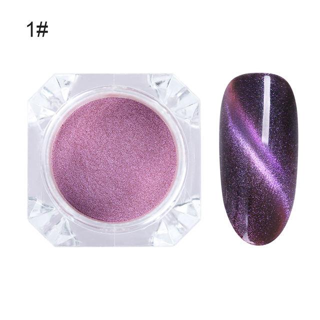 3D Chameleon Nail Glitter Powder Magnetic Powder Pearl Chrome Pigment Dust DIY Nail Art Decoration Black Base Needed