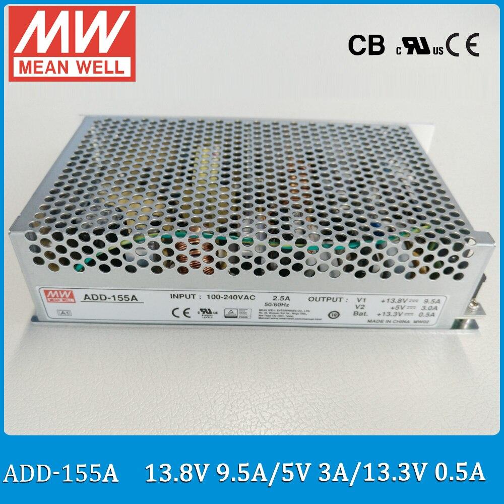Оригинал MEANWELL add-155a 13.8 В 9.5a + 5 В 3A 155 Вт двойной выход безопасности Питание с Батарея зарядное устройство (функция ИБП)