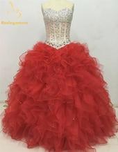 2015 Hot Sale Sexy Blue Red Quinceanera Dresses Ball Gowns Sweetheart Beaded Lace Up Sweet 16 Dress Vestidos De 15 Anos QA385 недорго, оригинальная цена