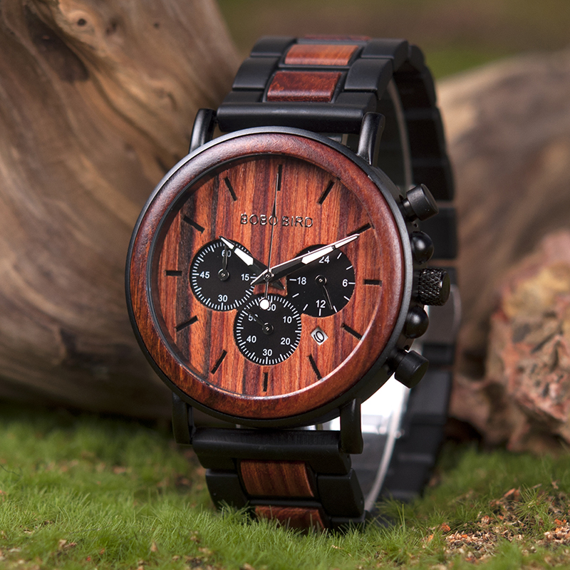 BOBO Bird Natural Wooden Chronograph Watch + Gift Box 20