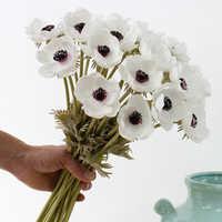 Real Touch Artificial anémona Flores de seda Flores Artificiales para la celebración de la boda Flores falsas jardín casero decorativo corona