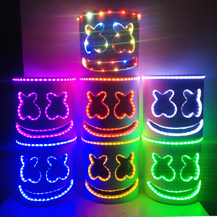 EVA Helmet Halloween DJ Marshmello Mask Cosplay LED Luminous Prop High Quality Party Bar Music Electronic Syllable Marshmello