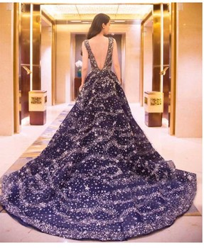 Eye Catching Evening Trailing Dress Blue Sky Crystal Sequins Backless Formal Dress Women Tulle Ball Gown Glitz and Glam Gown gown