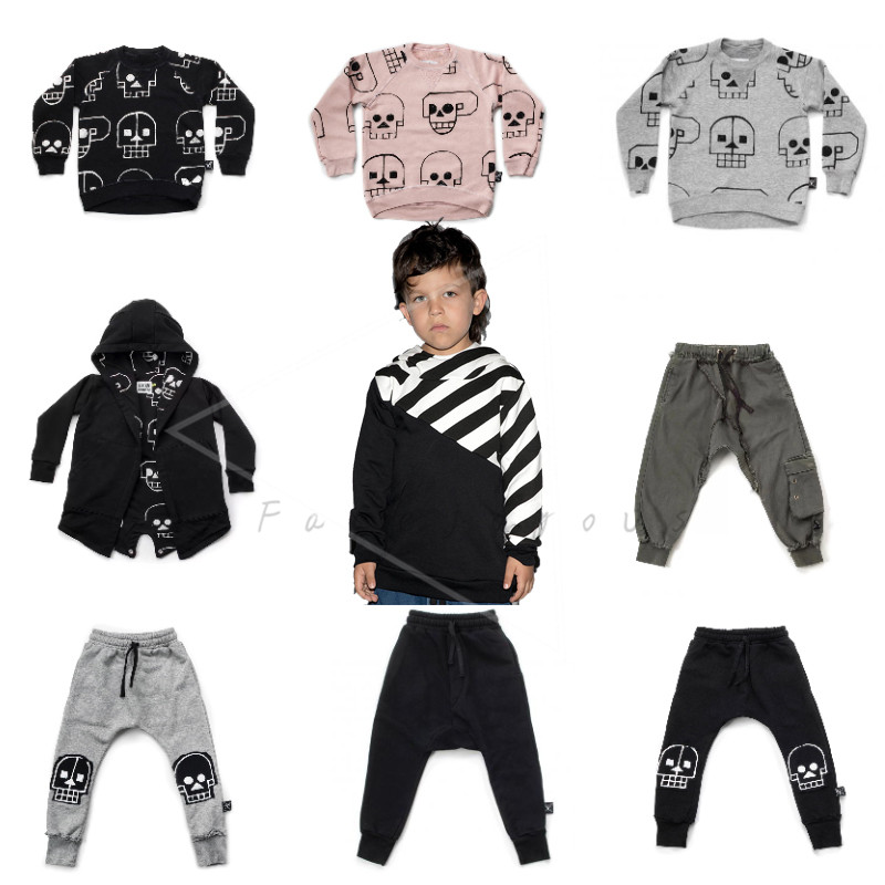Children Clothing Sets Baby T-shirt Boys Tops Skull Robot Sweatshirt Girls Patch Baggy Pants Kids Hooded Coats Clothes NUNUNU embroidered flamingo patch drop shoulder sweatshirt