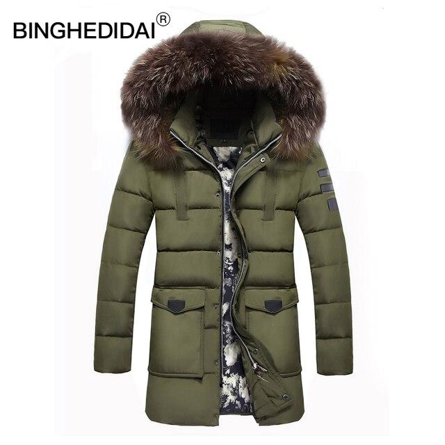 Winter Long Jacket Thermal Jacket Mens Fur Hooded Jacket Long Winter Jacket Men Cotton Padded Parka Long Mens Parka