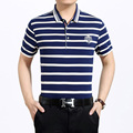 High quality summer men casual contrast colors  polos shirt striped short sleeve shirt