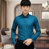 High Quality 2016 New Korean Style Fashion Pure Cool Shirt Men Long Sleeve Silk Shirt Business