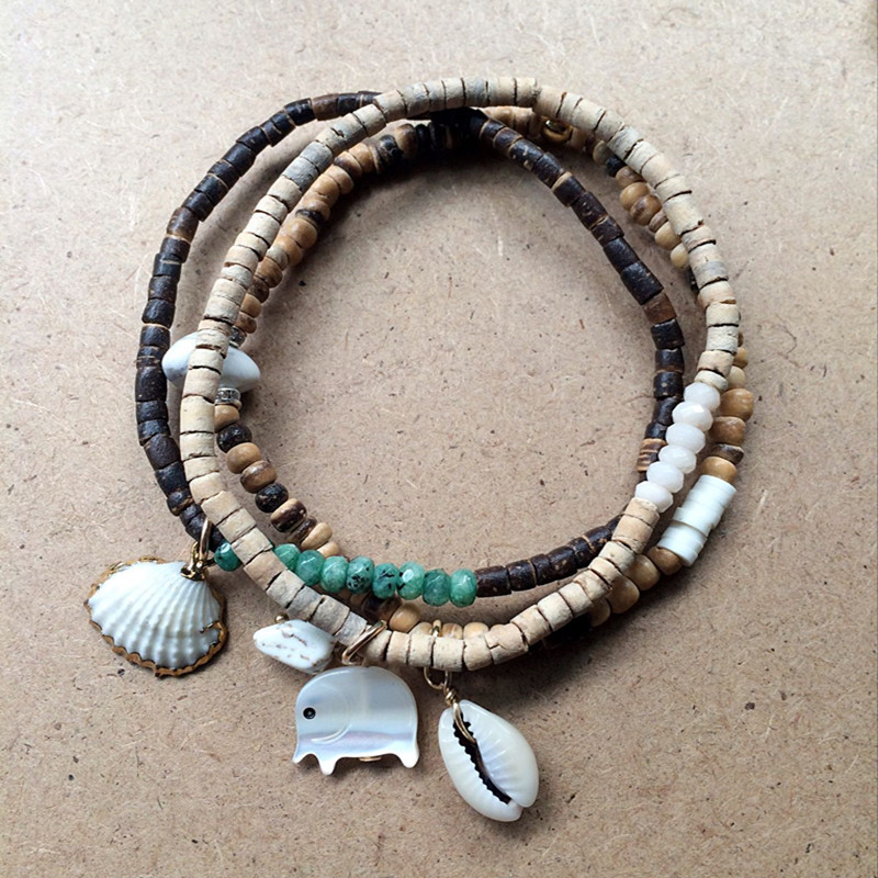 Dongmu Jewellery New 2017 Hand-made Charm Bracelets Skell Crystal Bracelet Stretch Combination For Women Beaded Bracelet