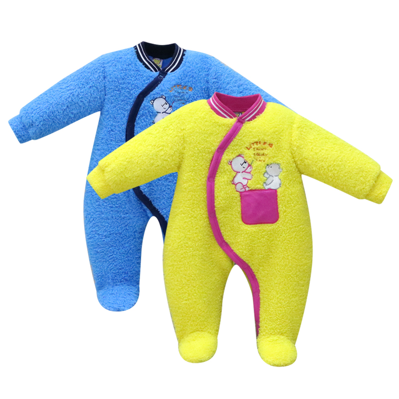 2 Pieces/lot winter coral fleece warm baby infant boys clothes girls hooded rompers newborn sleepwear kids children clothing iyeal newborn baby rompers winter warm girls clothing coral fleece boy clothes cartoon cat hooded outwear infant jumpsuits 0 12m