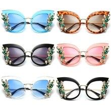 Women Sunglasses Cat Eye Fashion Rhinestone Shade Luxury Gradient Brand Designer