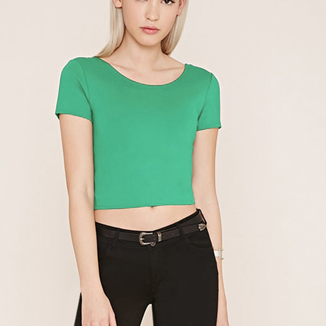 714028d4f69a0 New Summer Style 2017 Womens Short Sleeve Pure Color T-shirts Ladys Green Tee  Shirts Crop Tops Short Tees
