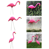 3Pcs Lifelike Pink Plastic Flamingo Garden Lawn Grassland Ornaments Art Decor Statues
