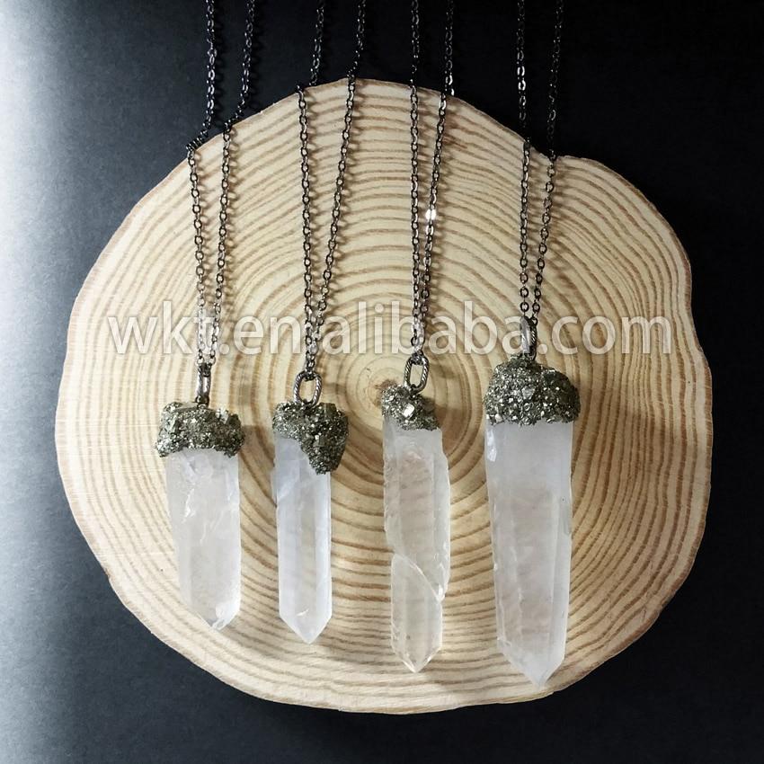 WT-N478 Gorgerous Gypsy boho quartz bijoux collier pyrite charme cristal quartz pendentif collier