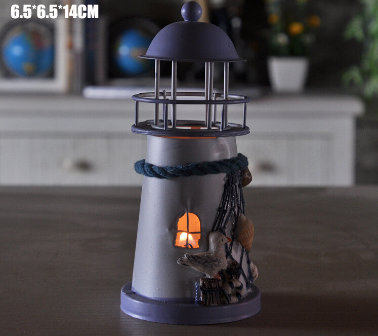40 pcs New Arrive Mediterranean style lighthouse wrought iron Candlestick Candle holder Home decoration-in Candle Holders from Home & Garden    2