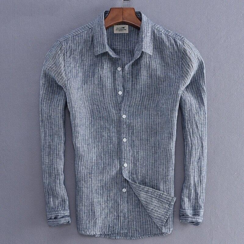 New Arrival Men Fashion Stripe Linen Shirt Male Casual
