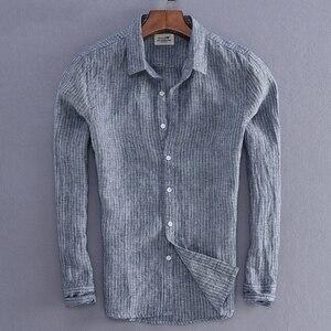 Image 1 - Мужская льняная рубашка в полоску, Повседневная приталенная Базовая рубашка с длинными рукавами, импортная одежда, 2019