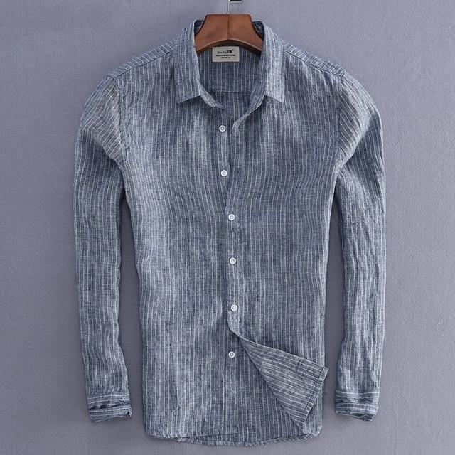 Мужская льняная рубашка в полоску, Повседневная приталенная Базовая рубашка с длинными рукавами, импортная одежда, 2019