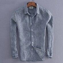 2019 nouveauté hommes mode rayure lin chemise homme décontracté à manches longues haut qualité fluide Slim Fit basique chemise importation vêtements