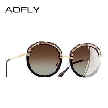 0c855fdcab AOFLY marca nuevo diseño moda gafas de sol redondas de brillante marco polarizado  gafas de sol de las mujeres gafas UV400 A127