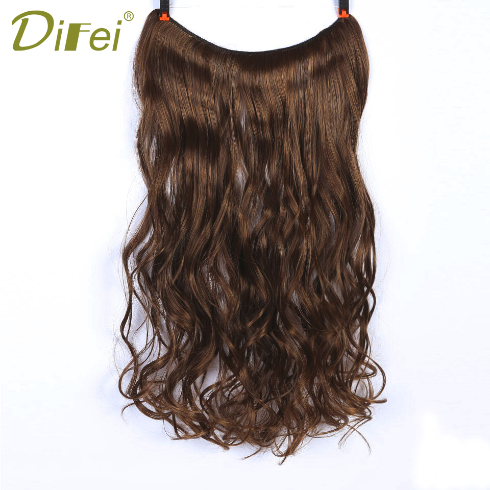 DIFEI Invisible Wire No Clips in Synthetic Long Straight/Wavy Hair Extensions 22 Inch Heat Resistant Hair Extensions