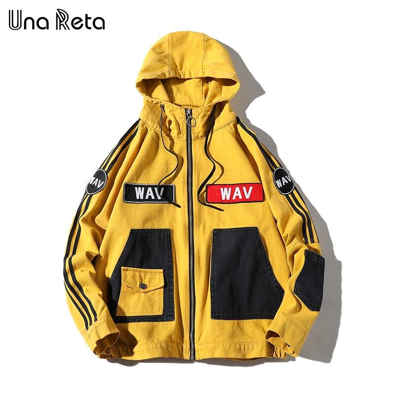 Erkek Kıyafeti'ten Ceketler'de Una Reta Kapşonlu Ceket Erkekler Moda Yeni Sonbahar Kış Hip Hop Ceketler Erkek Retro % 100% Pamuk Streetwear Rahat Kot Ceket ceket'da  Grup 1