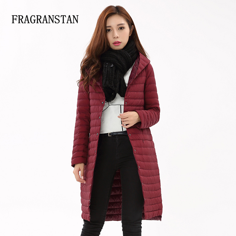 2017 Ladies Ultra Light New Fashion 90% White Duck Down Jacket Women Casual Slim Long Parkas Warm Hooded Vestidos 4 Colors LY132-in Down Coats from Women's Clothing    1