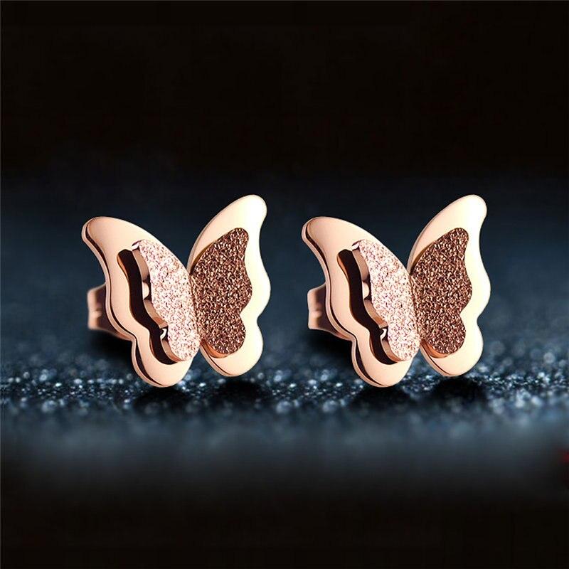 Модные, розовое золото ювелирные изделия, подарки, матовое, Бабочка, женские ухо гвоздь, 316 titanium стали вакуумные plating.283