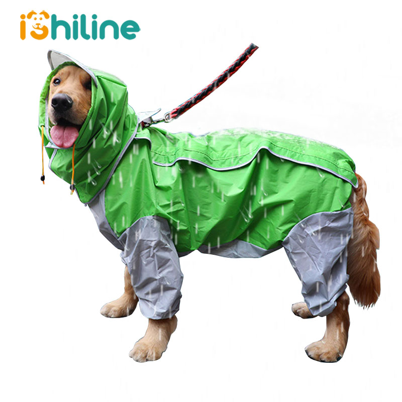 Pet Small Large Dog Raincoat Waterproof Clothes For Big Dogs Jumpsuit Rain Coat Hooded Overalls Cloak Labrador Golden Retriever