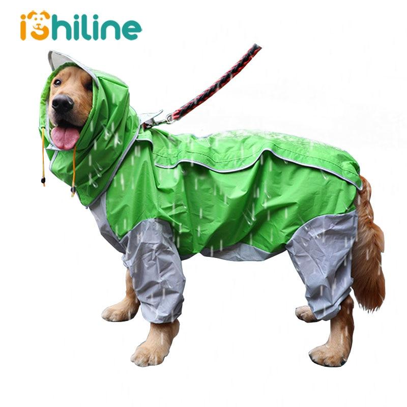 Pet Small Large Dog Raincoat Waterproof Clothes For Big Dogs Jumpsuit Rain Coat Hooded Overalls Cloak Labrador Golden Retriever