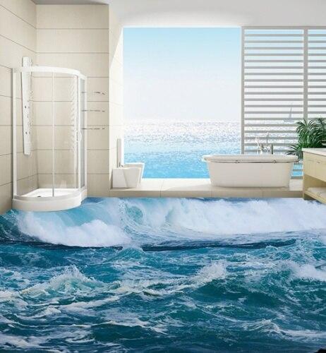 [Self-Adhesive] 3D Surfing Ocean 4 Non-slip Waterproof Photo Self-Adhesive Floor Mural Sticker WallPaper Murals Wall Print
