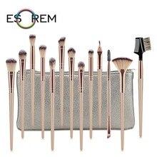 ESOREM 12/13 Pcs Champagne Color Makeup Brush Sets Cosmetic Brushes Flat Definer Angled Eyeliner Concealer Pinceles Maquillaje
