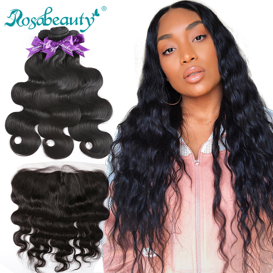 Brazilian Human Hair Weave Bundles With Frontal Body Wave 3 4 Bundles With Lace Frontal Closure